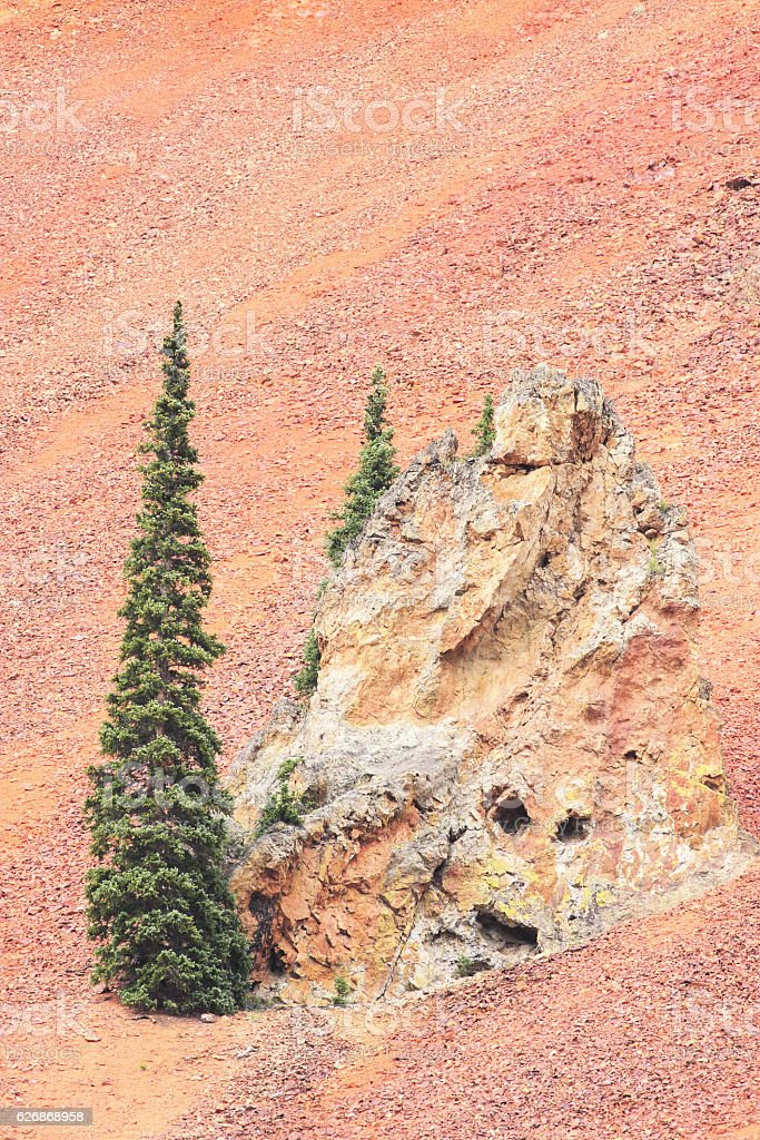 Red Mountain Iron Ore Rock Slope Ouray Colorado stock photo