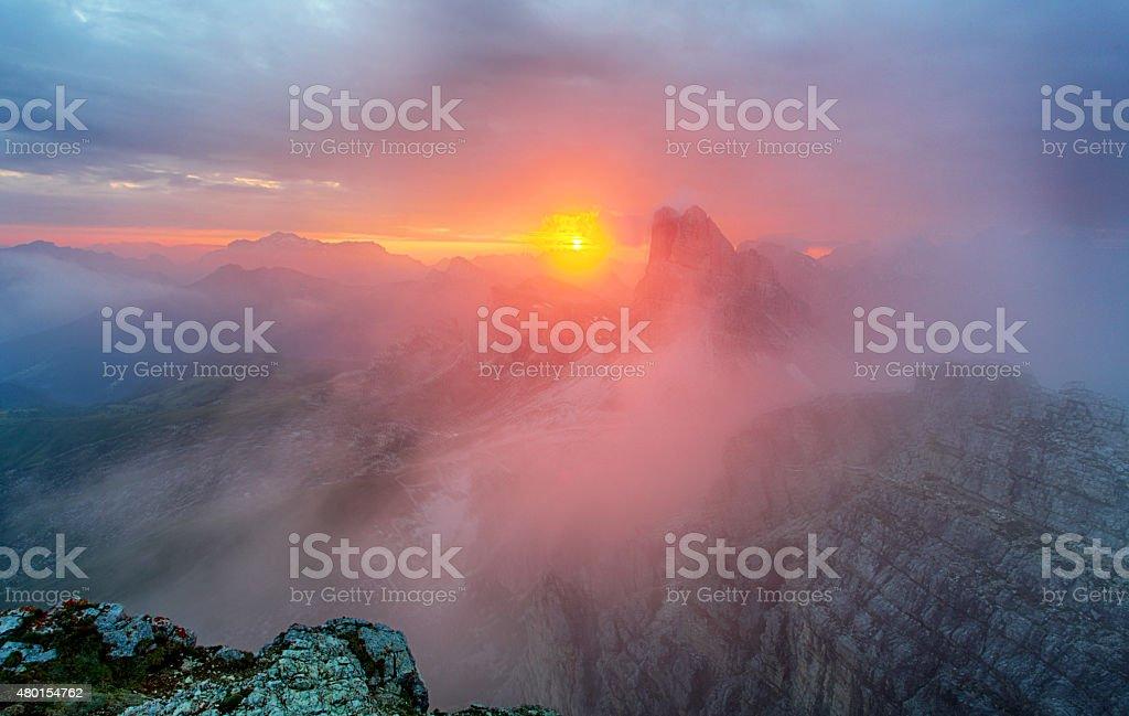 Red mountain landscape panorama, Dolomiti stock photo