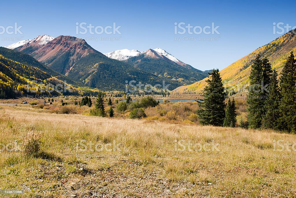 Red Mountains and Ironton Park in the Fall stock photo