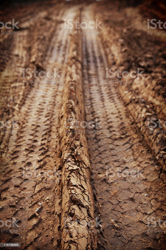 red muddy tread impression stock photo