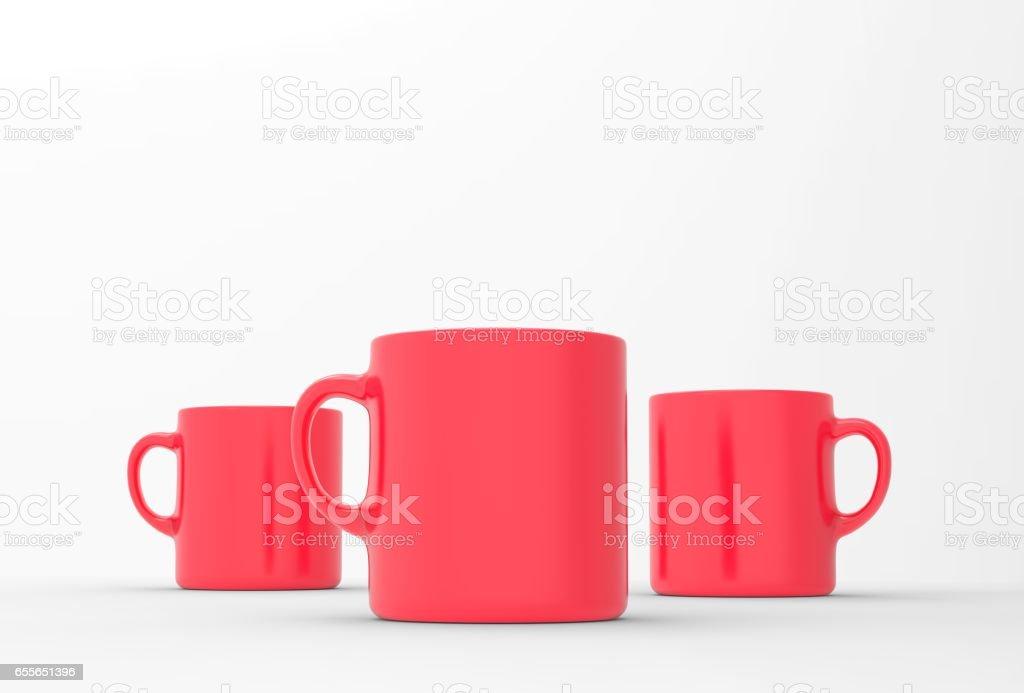Red mug mock up on soft white background. 3D illustrated stock photo