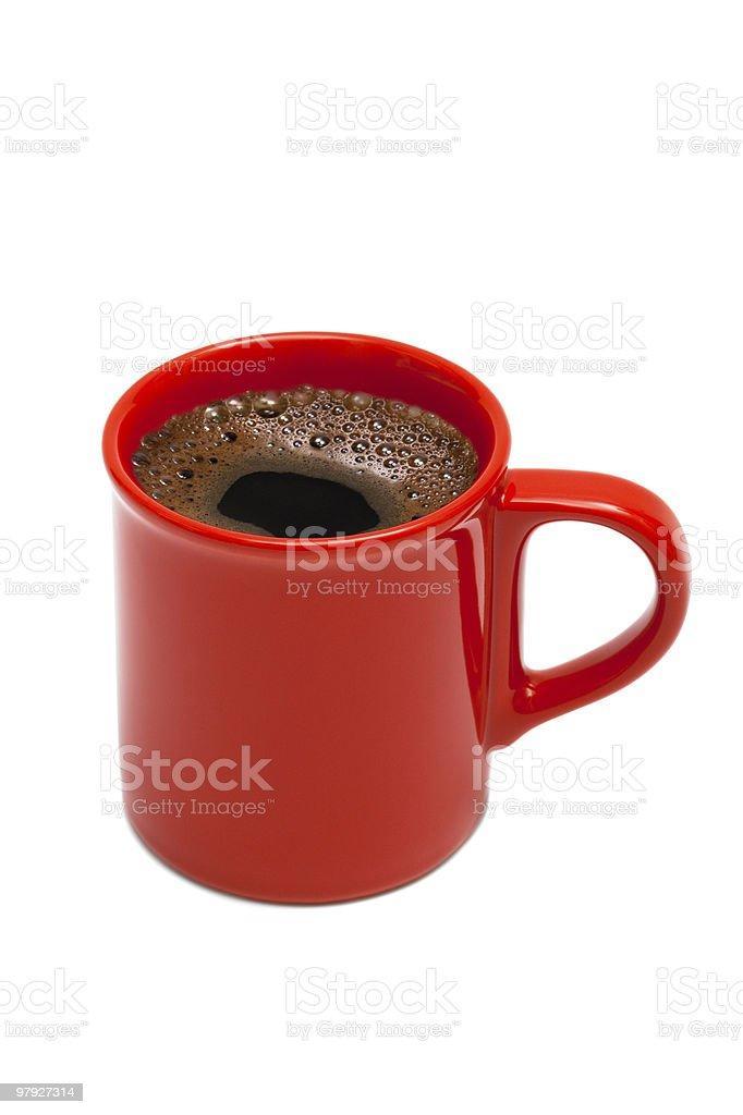 Red mug of black coffee on white background royalty-free stock photo