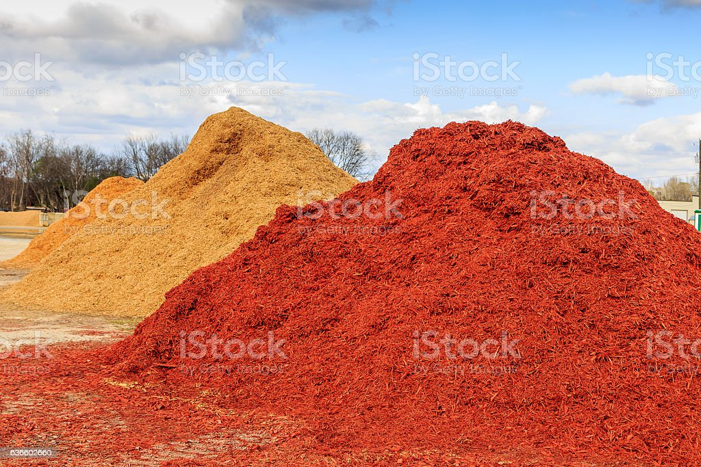 Red Mulch or Wood Chip Mound stock photo