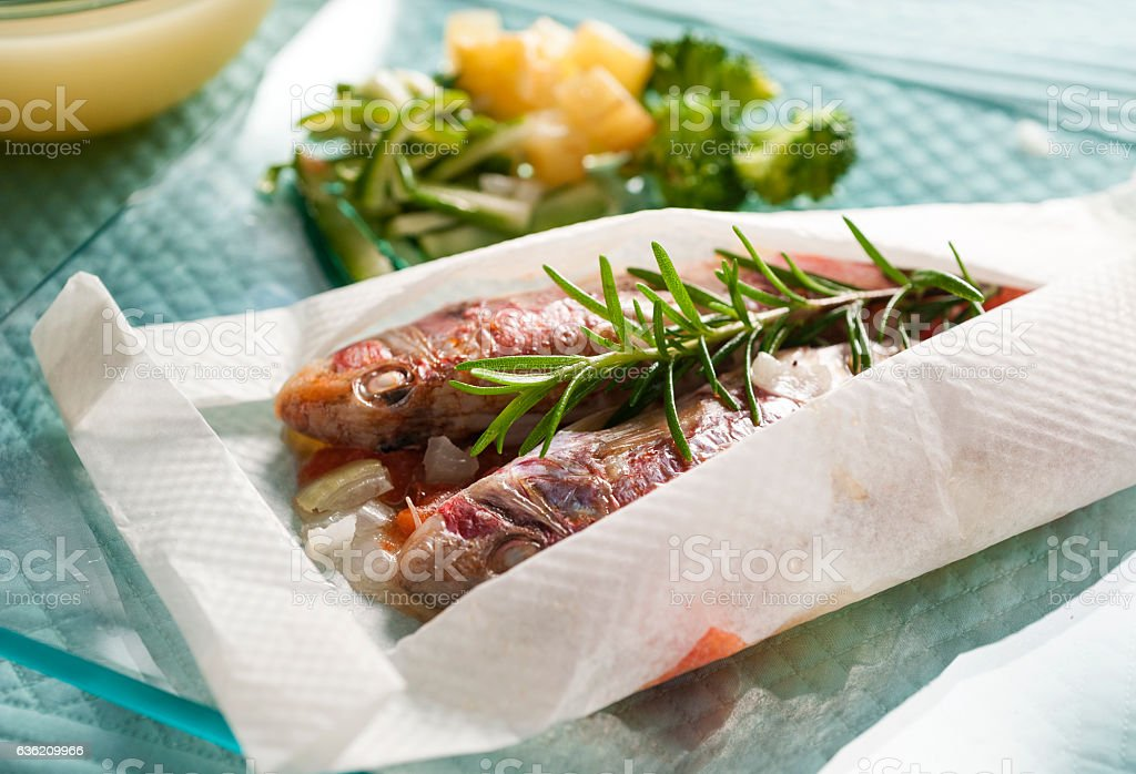 red mullet papillote stock photo