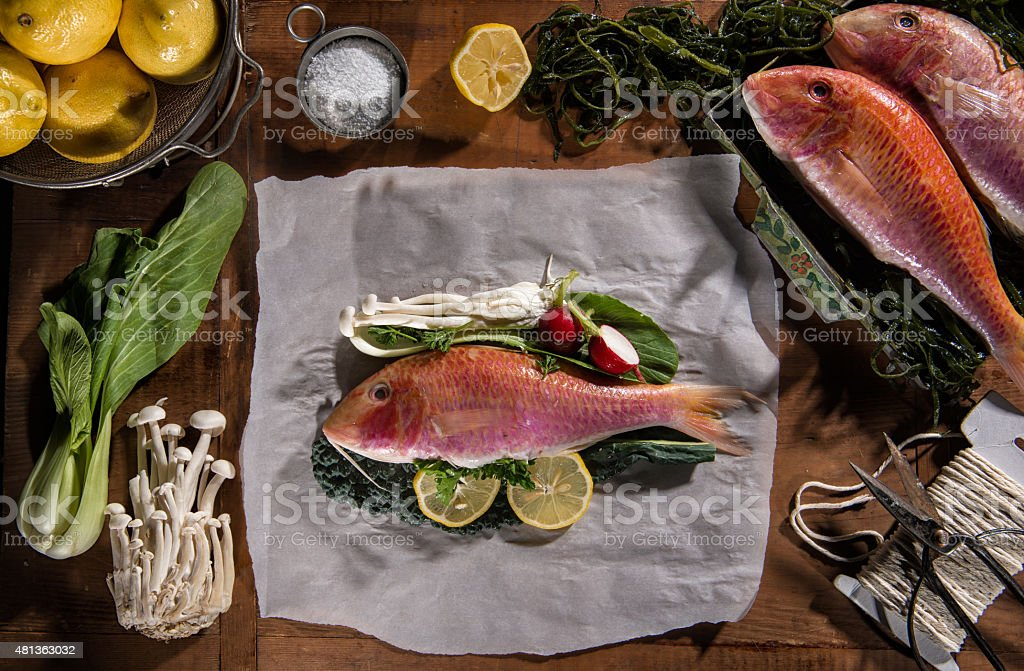 Red mullet ready for oven stock photo