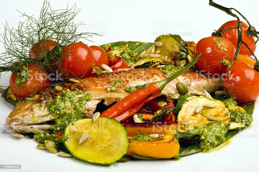 Red Mullet with roast vegetables royalty-free stock photo