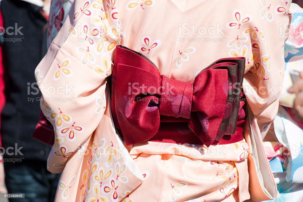 Red Munsuko and Pink pastel Yukata stock photo
