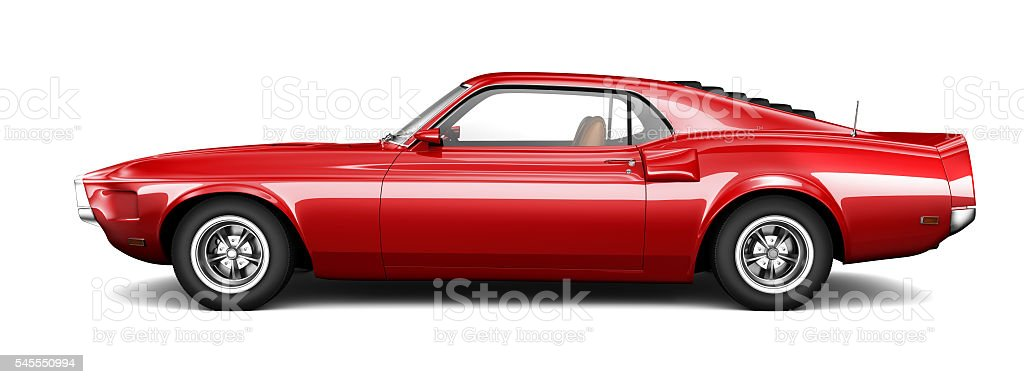Red muscle car stock photo