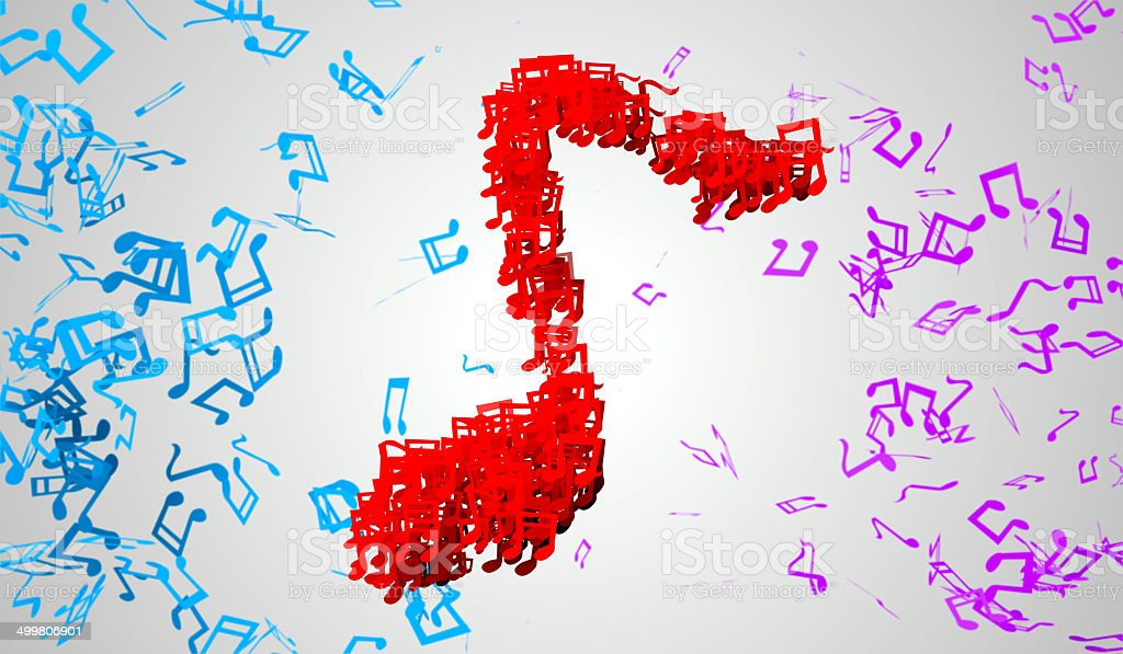 Red Musical Note Particles 3D White royalty-free stock photo