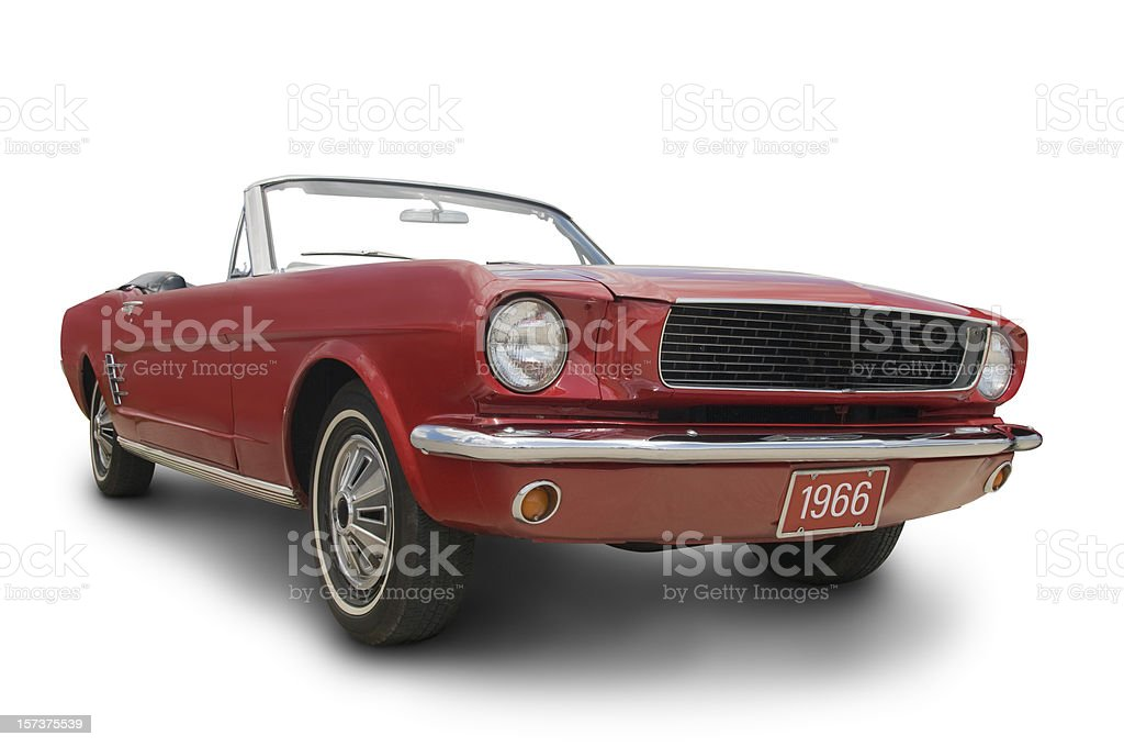 A red Mustang convertible isolated on white stock photo