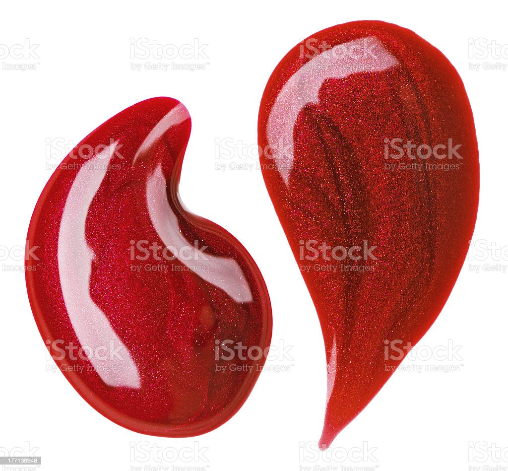 Red nail polish (enamel) drops sample, isolated on white royalty-free stock photo