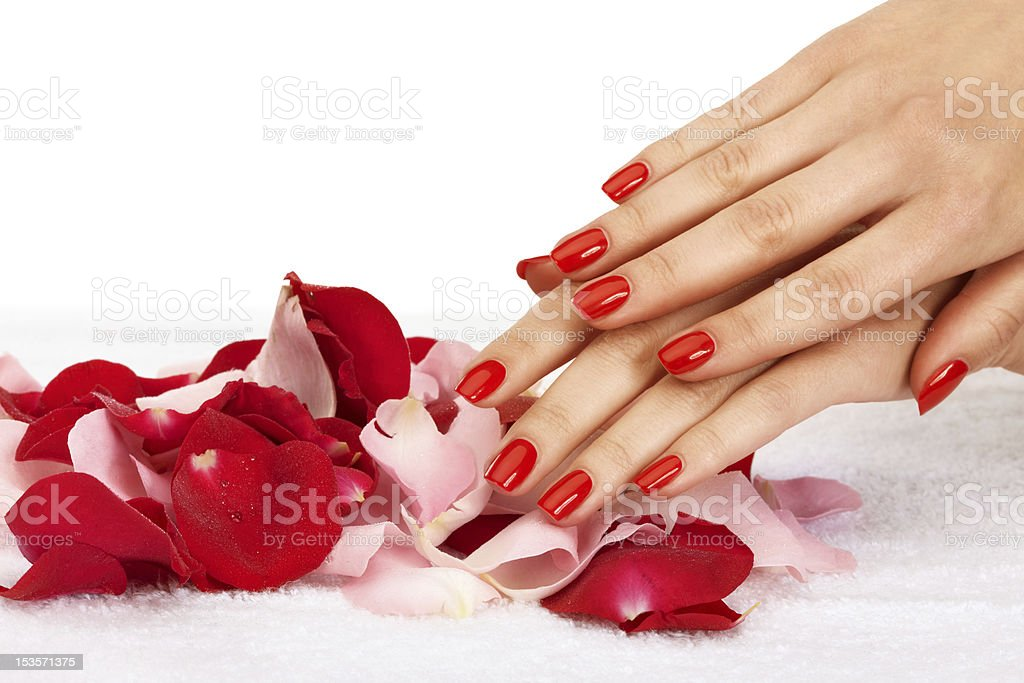 Red nails stock photo