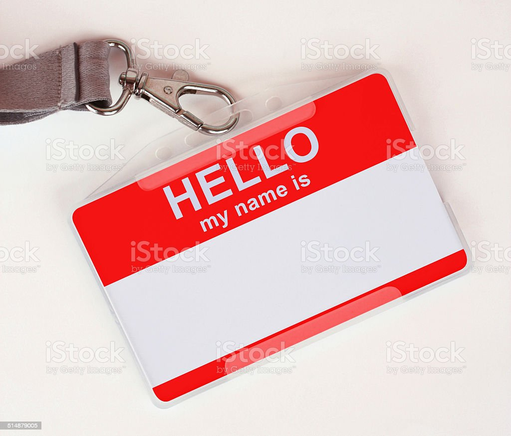 Red Name Tag stock photo