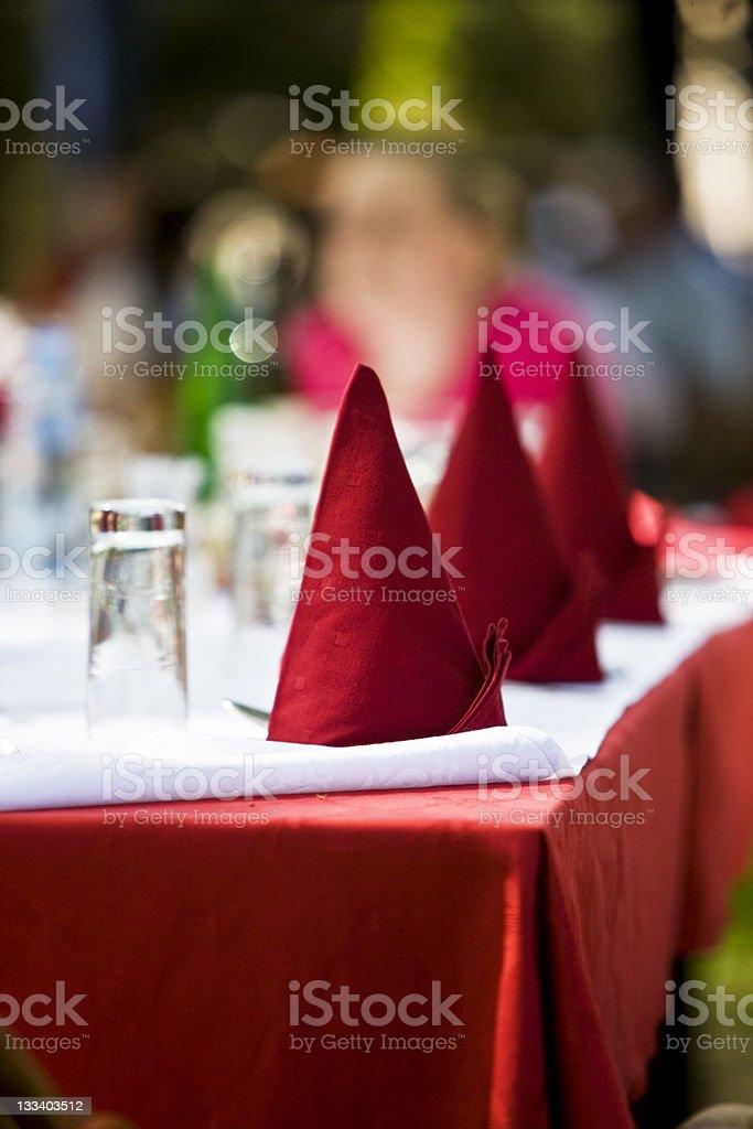 Red napkins decoration royalty-free stock photo