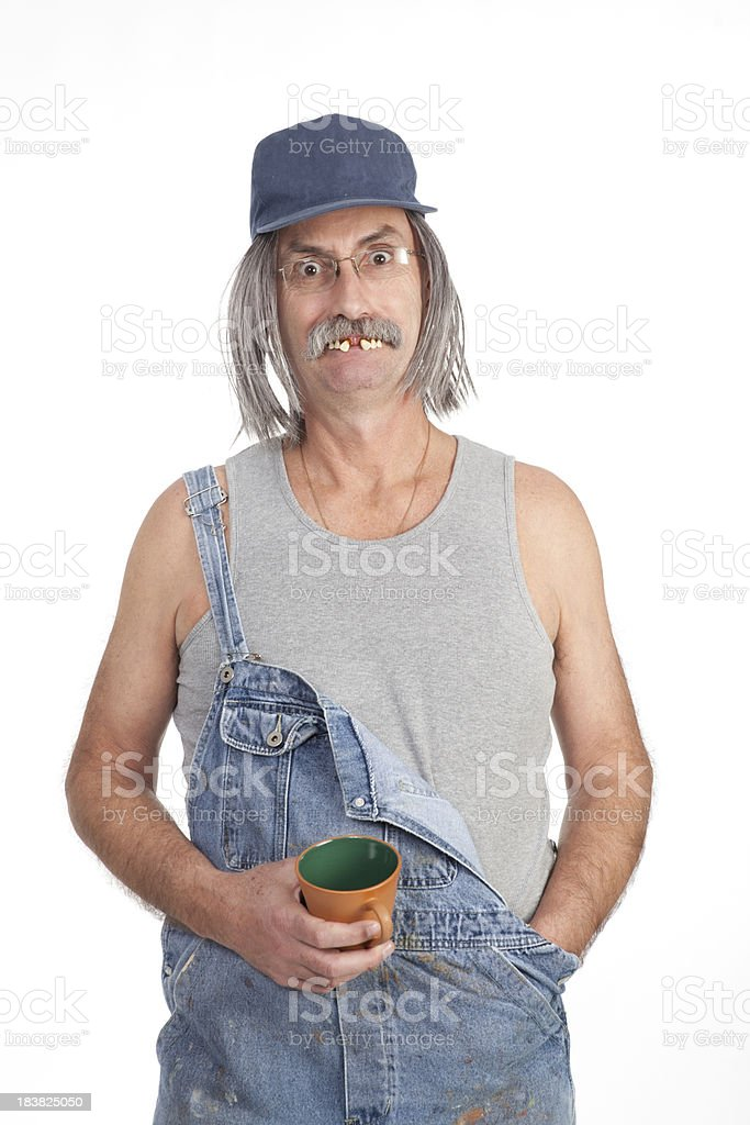 Red Neck drinking coffee royalty-free stock photo