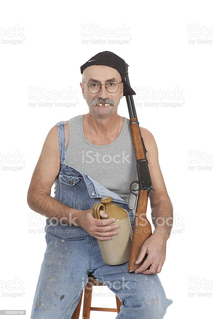 Red Neck with Gun and Alcohol royalty-free stock photo