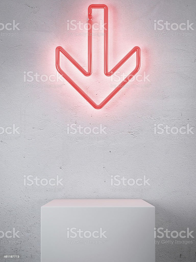 Red Neon arrow in interior stock photo