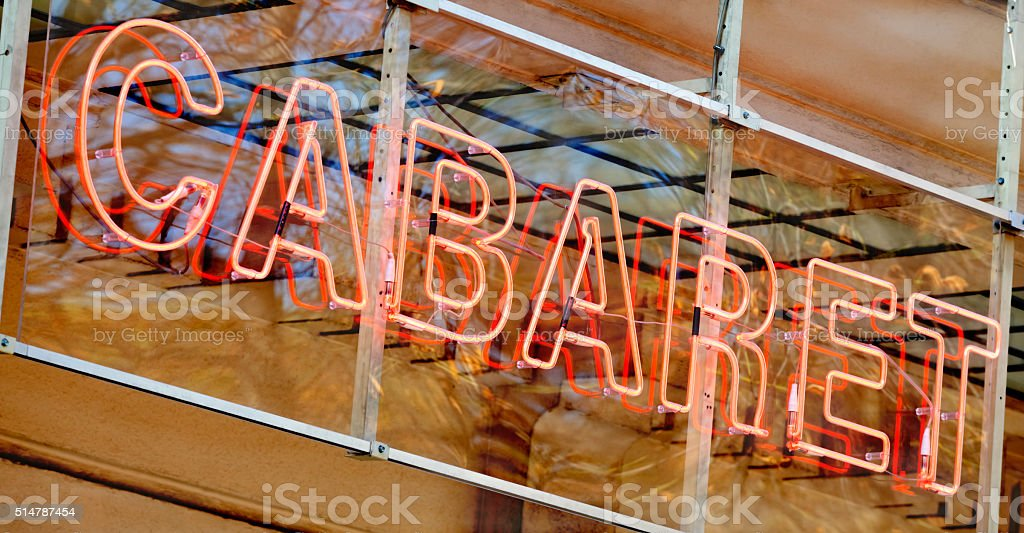 Red Neon Cabaret Sign stock photo