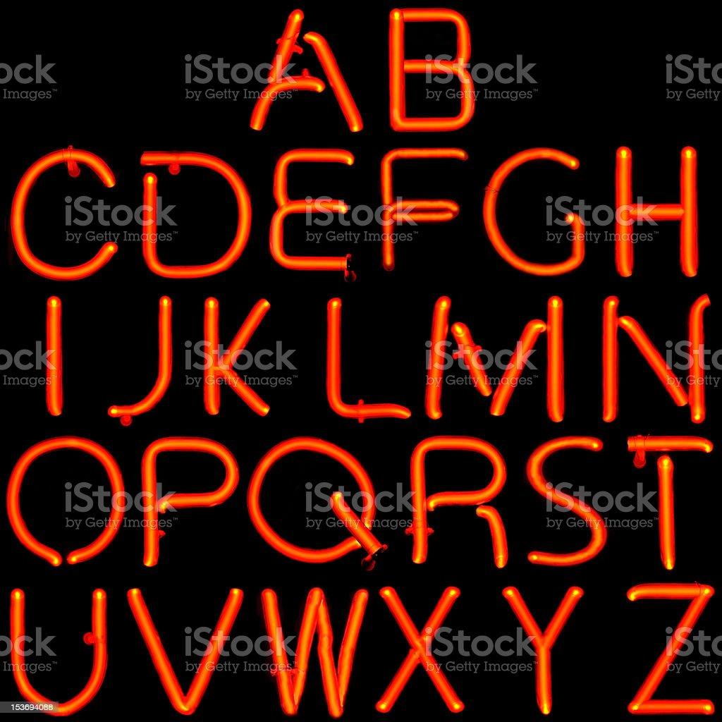 Red Neon Latin Alphabet royalty-free stock photo