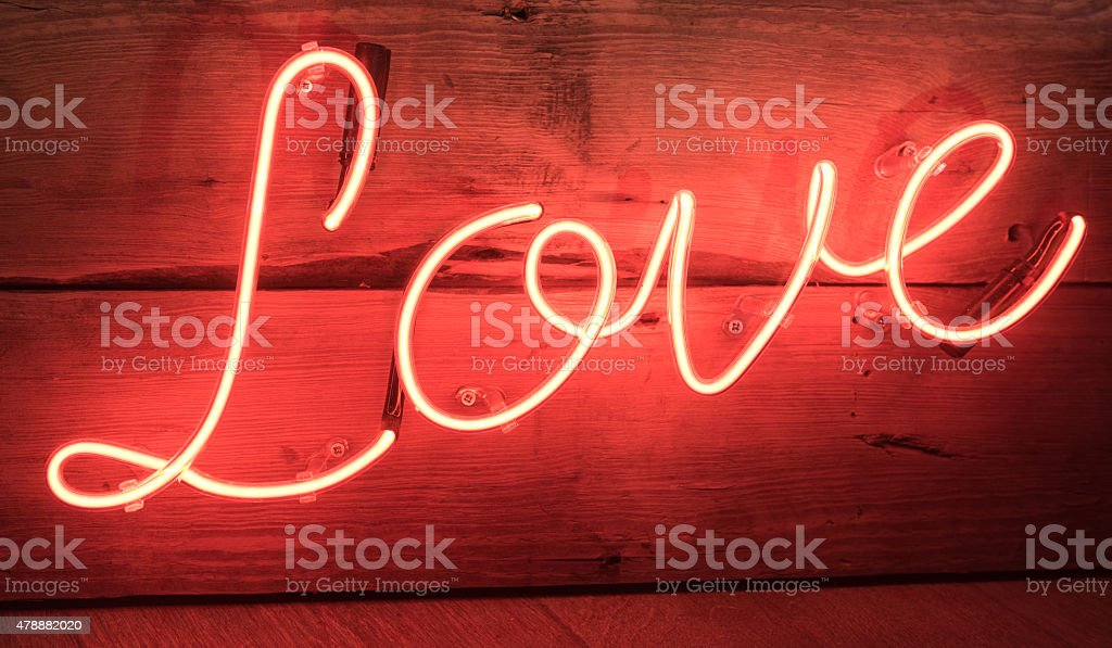 Red Neon Love Sign stock photo