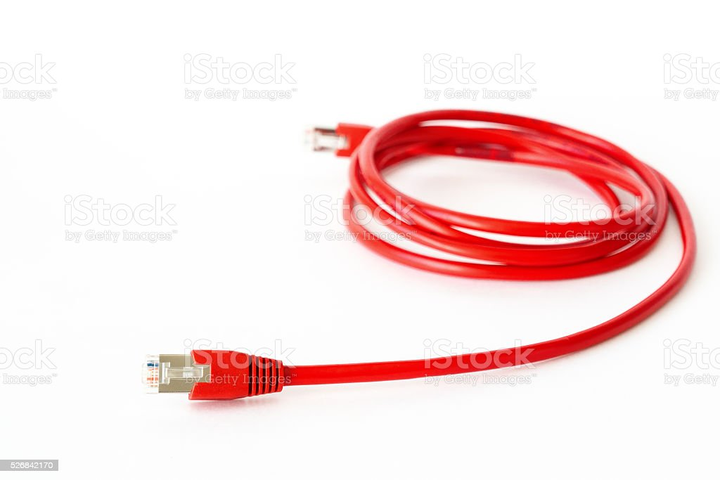 Red network cable stock photo