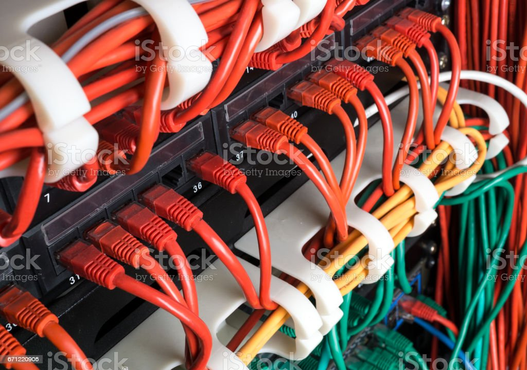 Red network cables connected to switch stock photo