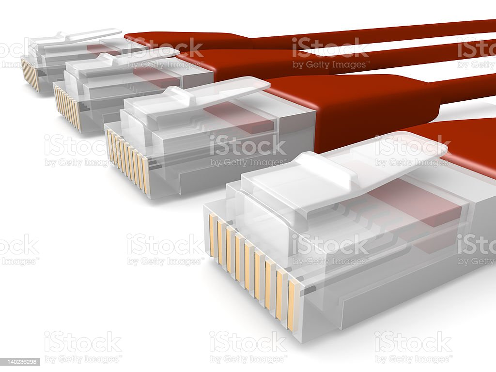 Red Network Cables royalty-free stock photo