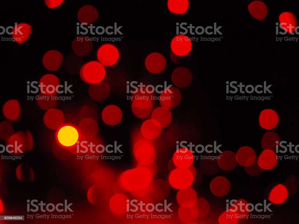Red night lights with low depth of field bokeh stock photo