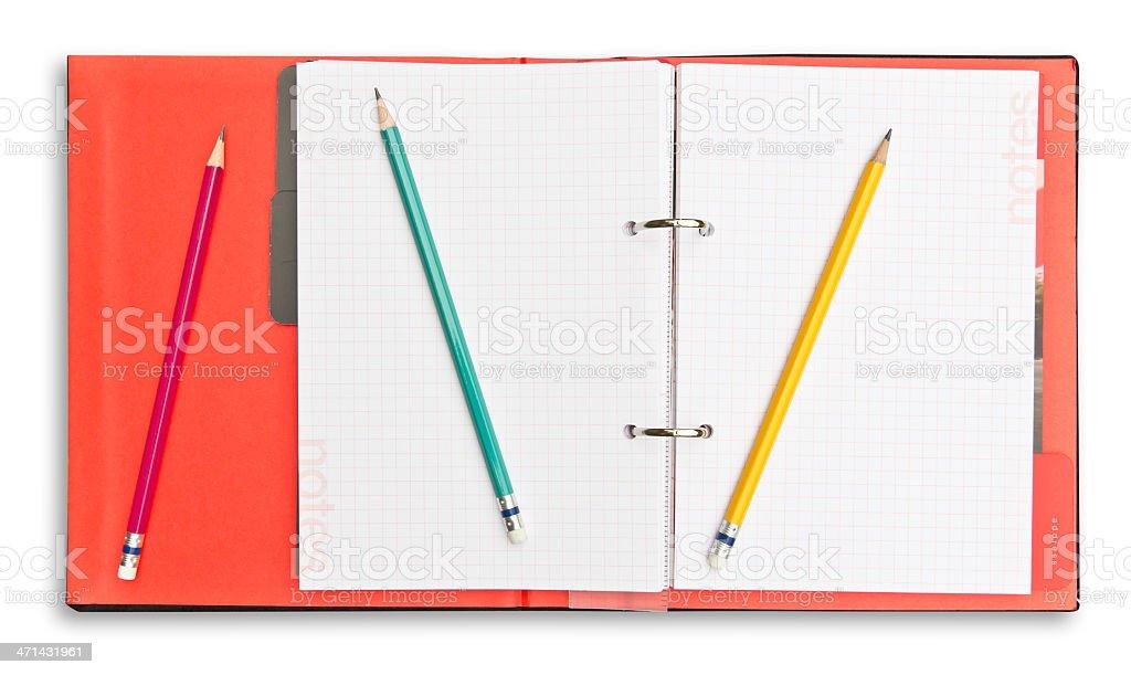 Blocco note e una matita rossa isolata con percorso clip foto stock royalty-free