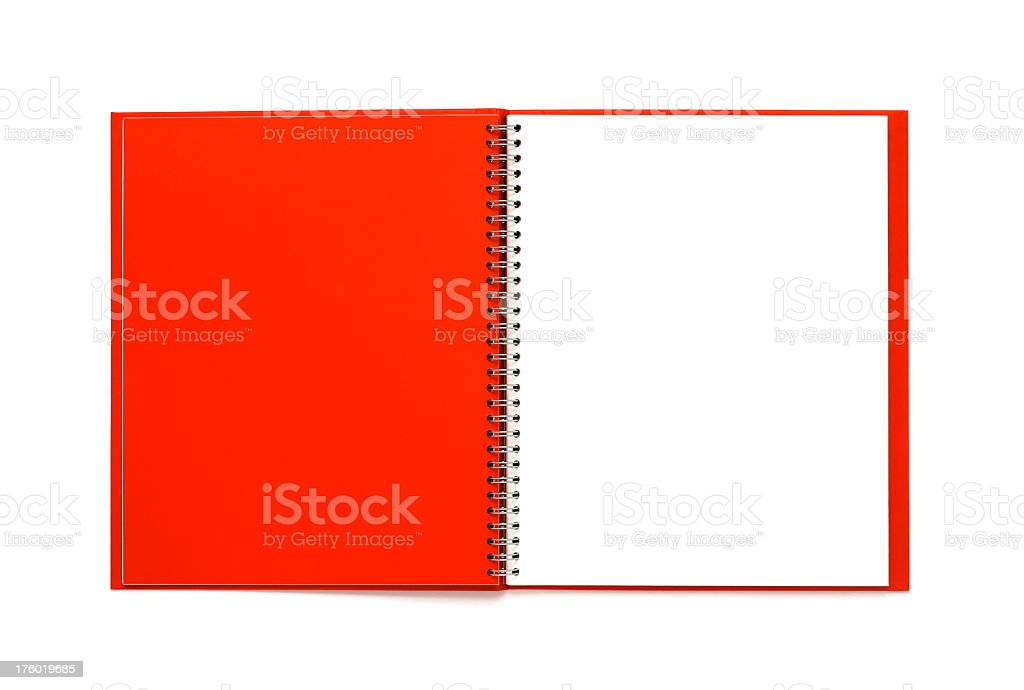 Red notebook isolated on white royalty-free stock photo