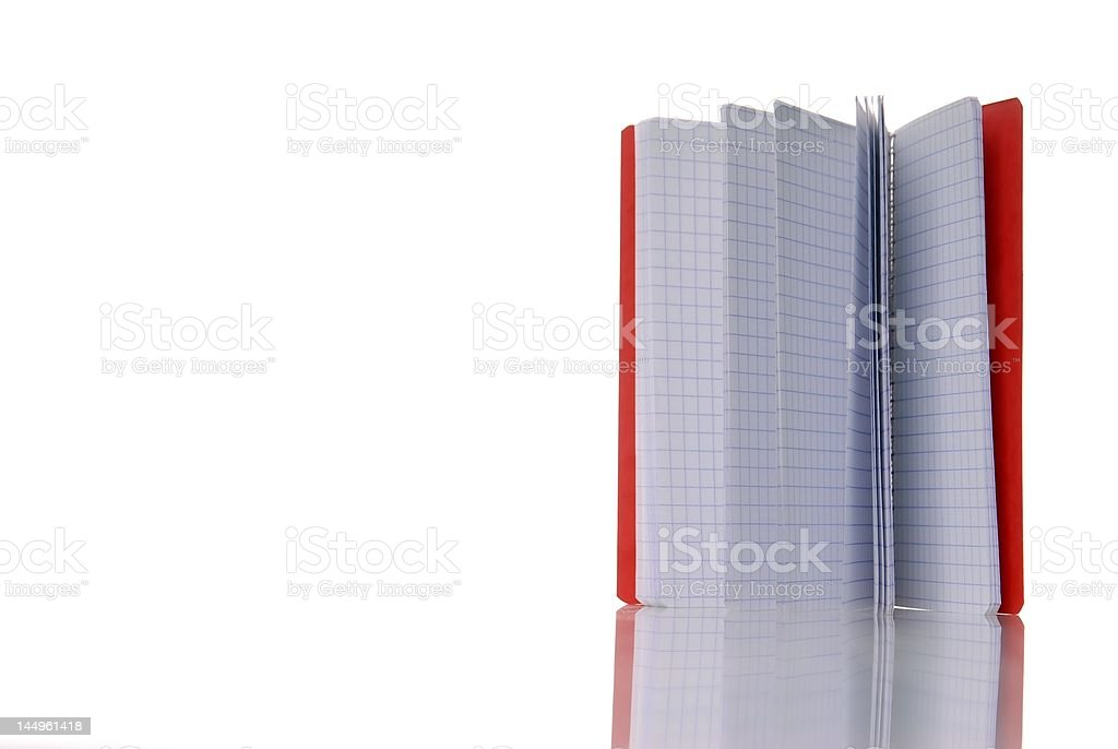 red notepad isolated over white royalty-free stock photo