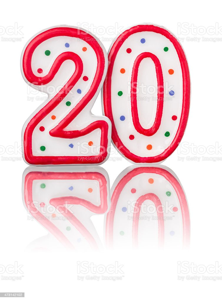 Red number 20 with reflection stock photo
