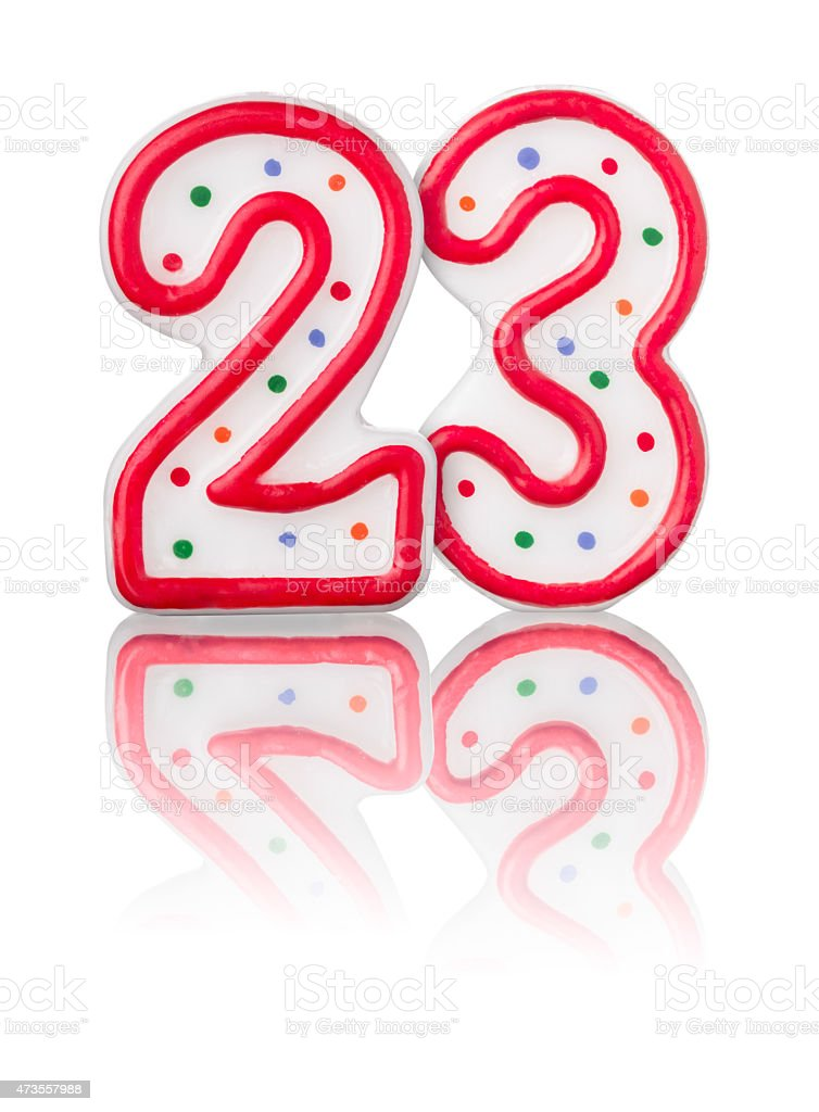 Red number 23 with reflection on a white background stock photo