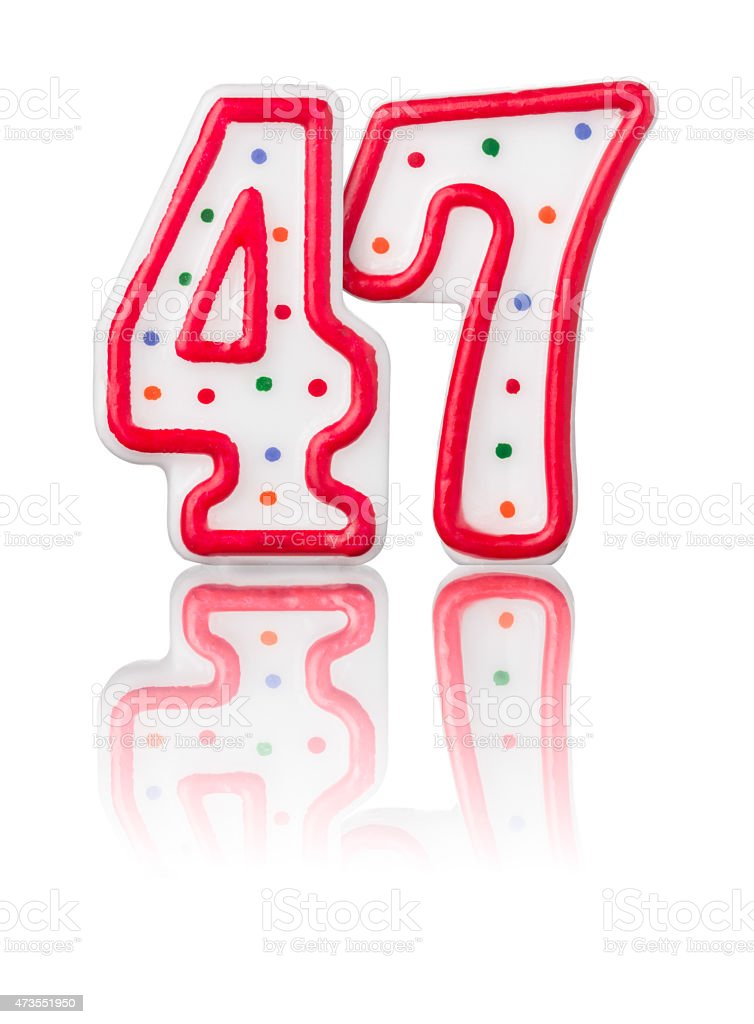 Red number 47 with reflection on a white background stock photo