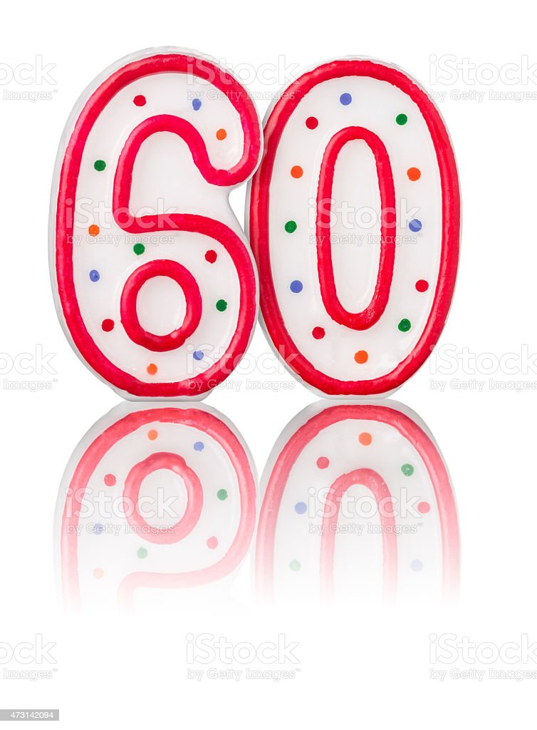 Red number 60 with reflection stock photo