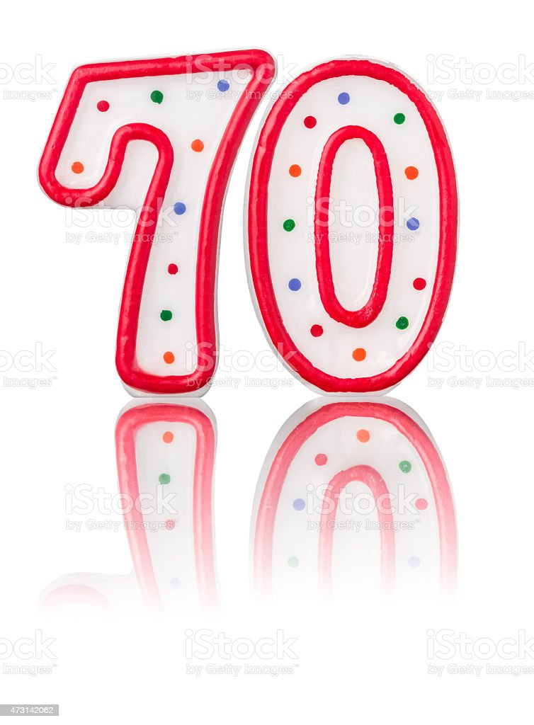Red number 70 with reflection stock photo