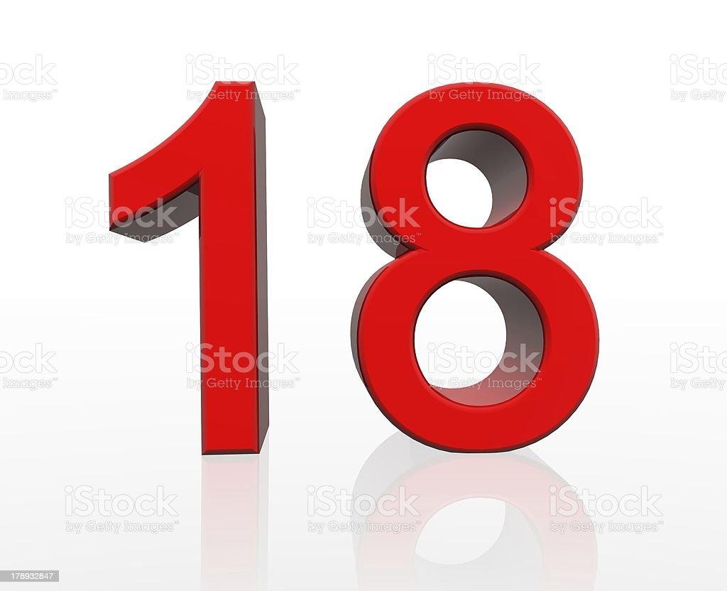 red number eighteen stock photo