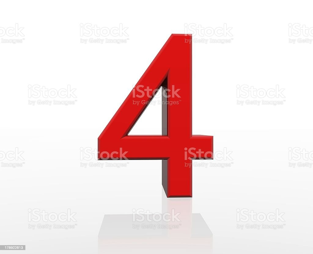 red number four royalty-free stock photo