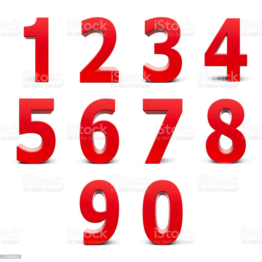 Red numbers set stock photo