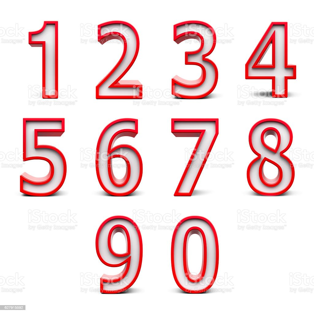 Red numbers set #2 stock photo