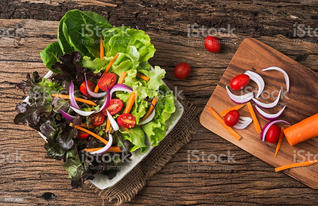 Red Oak and Green Oak salad. stock photo
