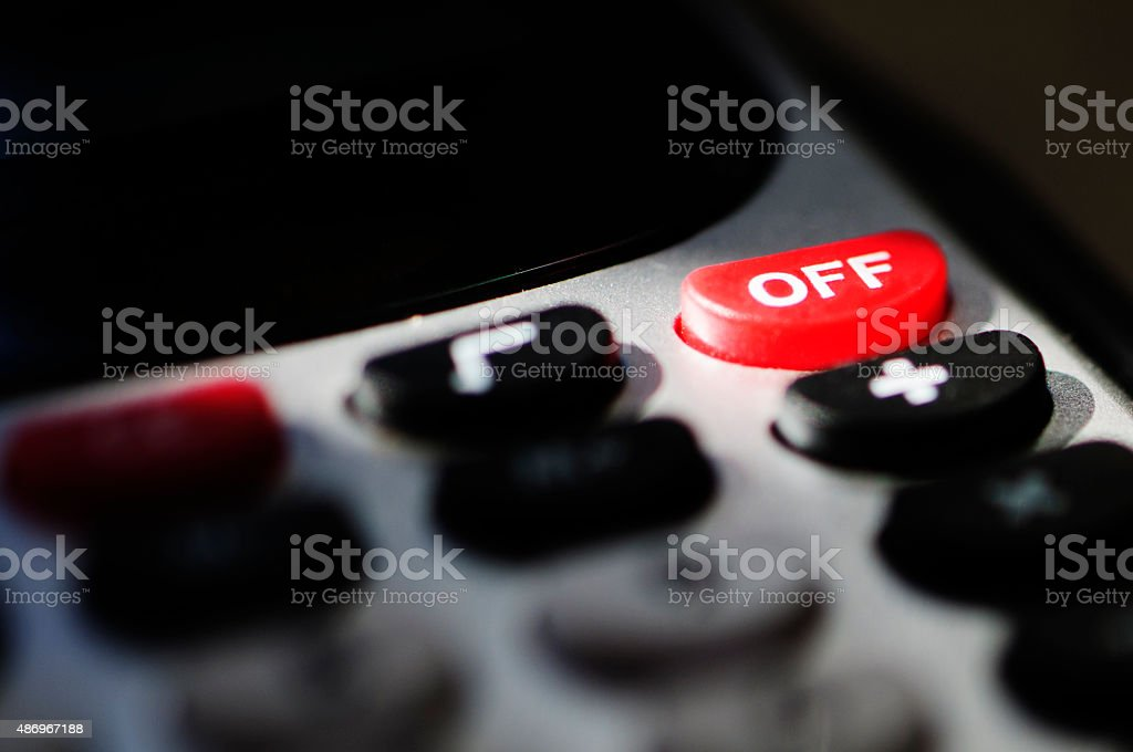 Red Off Button on Calculator stock photo