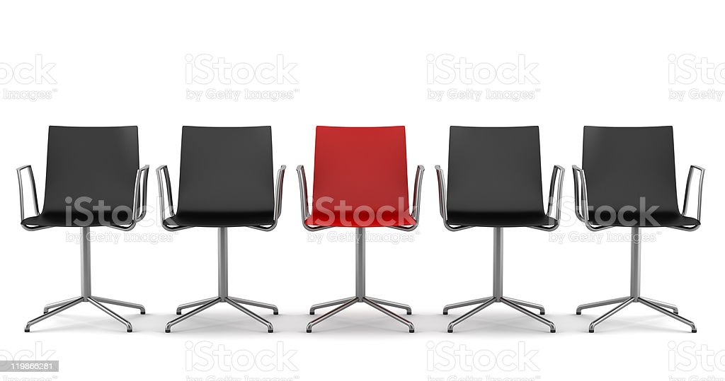 red office chair among black chairs isolated on white background royalty-free stock photo