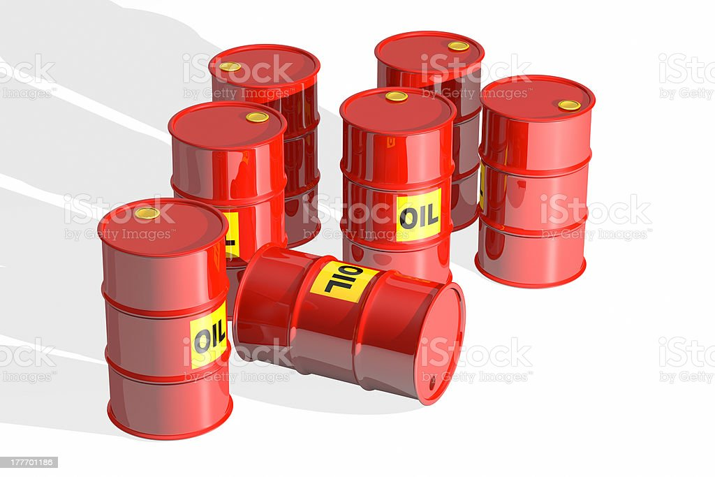 Red oil barrels royalty-free stock photo