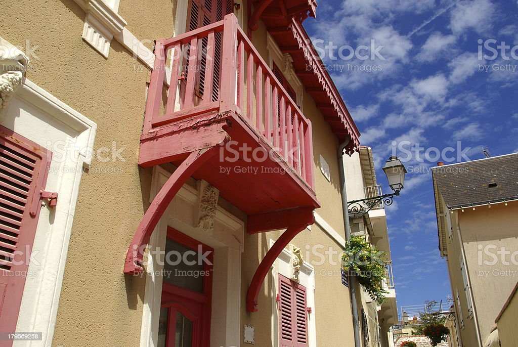 Red old balcony royalty-free stock photo