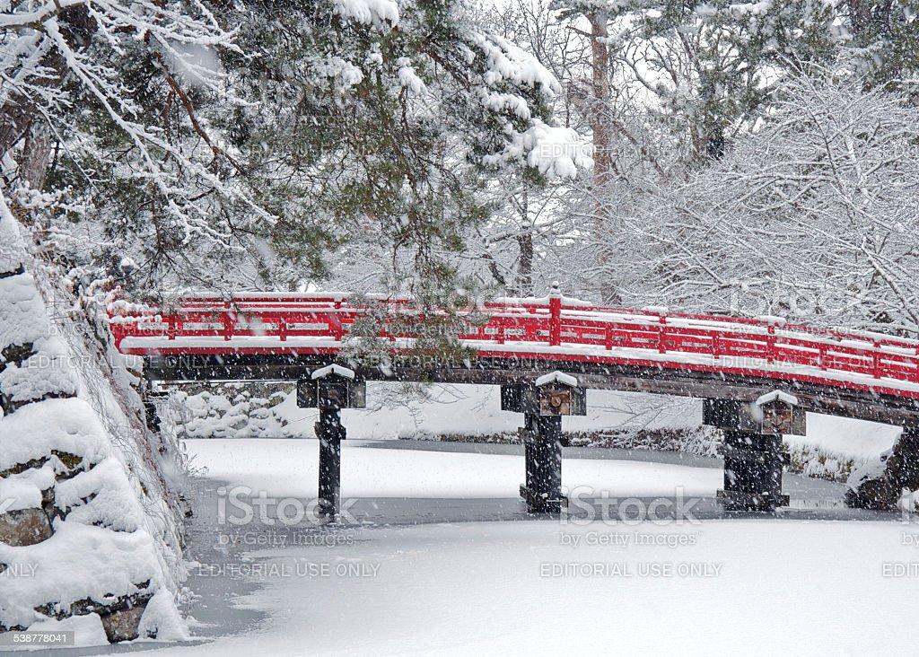 Red Old Bridge stock photo