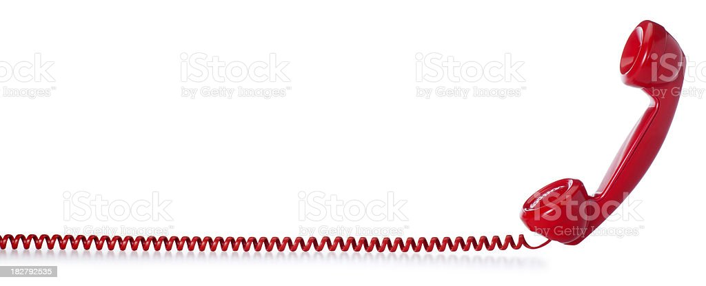 Red Old Fashioned Telephone on a White Background stock photo