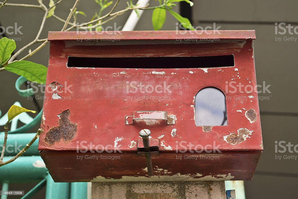 Red old mailbox royalty-free stock photo