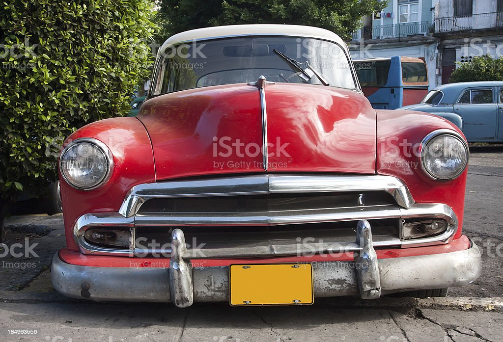 Red old timer in the streets of Havana, Cuba stock photo