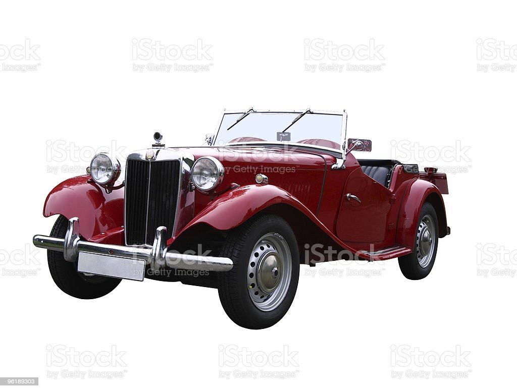 Red oldtimer (with clipping path) stock photo